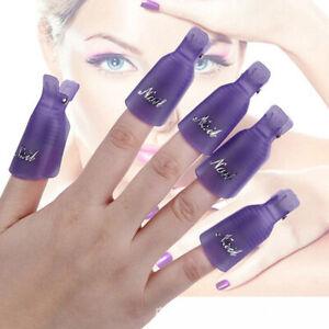 5/10pcs Plastic Nail Soak Off Clip Caps UV Gel Art Nail Polish Remover Wrap Cap