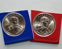 2008 P and D Sacagawea Dollar BU 2 Satin Coins from US Mint Set Native American