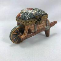 Limoges Porcelain Hand Painted Vegetable Farming Wheelbarrow Trinket Box