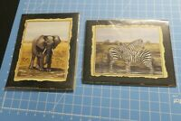 "PAIR OF 2001 Jackie Thompson Prints  African Safari Elephant  Zebras  8 X 10"""