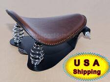 Brown Leather SOLO Seat Pan Frame Cover Barrel Spring Harley Bobber Custom USA
