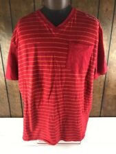 ROCAWEAR Classic Men's 3XL Red Stripe Classic 100% Cotton T-Shirt Front Pocket
