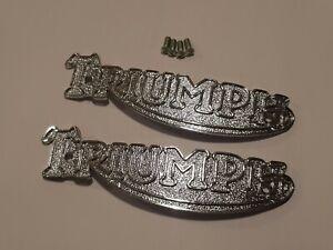 82-1823 TRIUMPH PRE-UNIT PAIR CHROME TANK BADGES INC SCREWS  3T 5T 6T UK MADE.