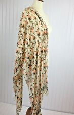 Lucky Brand Multi-color Floral Sheer Scarf Shawl with Pom Pom Fringe (with flaw)
