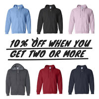 HI MEN WOMEN UNISEX PLAIN ZIPPER HOODIE CASUAL FULL ZIP UP SWEATSHIRT ACTIVE