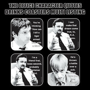 THE OFFICE Character Quote Drinks Coasters / Bar Mat - Hardboard / Gloss Finish