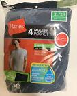 Hanes 4 pack Mens Pocket Ts Cotton T-Shirt Tagless Crew - SI