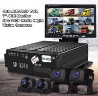 "4CH DVR Video Recorder Box w/7"" HD Monitor&4X CCD Camera Set For Truck Van Bus&"