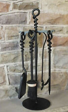 Fire Place Companion Set 5 pce Black Hand Forged Loop Poker with Log Hook 400mm