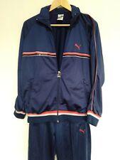 Retro Vintage Men's Puma Tracksuit Jacket Pants Navy Blue Size M
