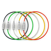 5PCS 15cm Outdoor Hiking Stainless Steel Wire Keychain Cable Key Ring Chains