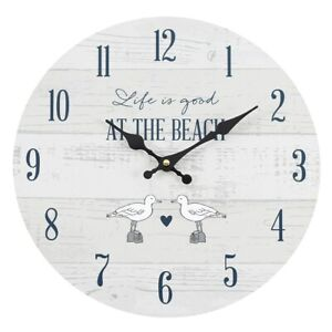 LIFE IS GOOD AT THE BEACH WALL CLOCK. Large 34cm seaside - beach themed clock.
