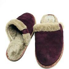 FRYE Denise Shearling Maroon Suede Women's Slippers, Size 7 M