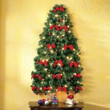 3 Ft. Lighted Fully Decorated Red Bows Space Saving Christmas Wall Tree