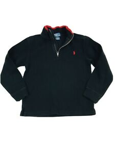 Polo by Ralph Lauren Boys Size 7 Pullover Sweater Black 1/2 Zip