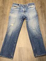 Vintage Lee Denim Jeans Distressed Size 34x30 light wash