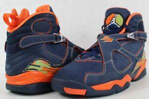 Nike Air Jordan Retro 8 Peapod Midnight Navy Blue Orange size 11 316324-481