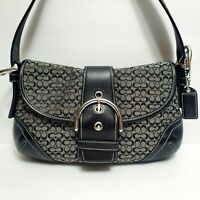 COACH Black Leather & Gray Signature Canvas Buckle Small Purse 6818
