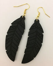 Black Leaf Shape Wood Dangle Earrings