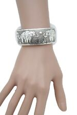 Bohemian Women Silver Metal Cuff Bracelet Fashion Jewelry Africa Elephant Safari
