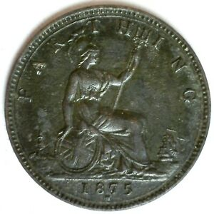 1875 H Great Britain Bronze Farthing Coin Extra Fine Circulated Victoria Ruler