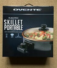 Ovente Electric Skillet Portable Tempered Glass Cover Aluminum Non-stick NEW