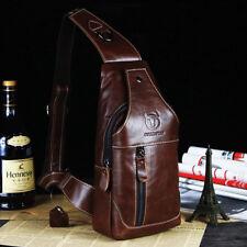 Men Genuine Leather Chest Back Pack Shoulder Crossbody Messenger Sling Sport Bag