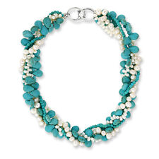 "18"" Turquoise White Cultured Freshwater Pearl Twisted Necklace with Toggle Hook"