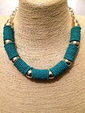 Declaración de mujer Aqua Azul Cadena collar con cuentas Pechera Cuello De Oro Grande Grueso