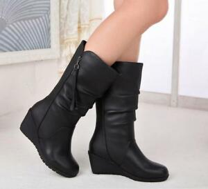 Women Wedge Heel Mid Calf Boots Casual PU Leather Side Zipper Shoes Size UK2.5-8
