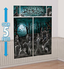 DEAD END CEMETERY Scene Setter Halloween party wall decoration kit over 5'