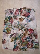 Topshop Chiffon See-through Multicoloured Floral Top Size 8