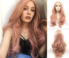 "US STOCK 24"" Heat Safe Smoke Pink Lace Front Wig Synthetic Hair Long Wavy"
