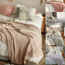 Cotton Knitted Throw Knit Thread Blanket Soft Sofa Bed Home Office Nap Rug Warm