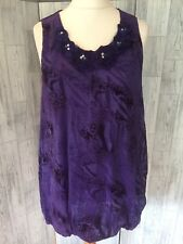 Inspire Purple Sheer Velvet Embossed Tunic Dress With Flower Detail Sz20/48