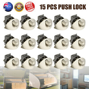 15X Half Moon Handle Push Lock Latch Knob For Caravan RV Cupboard Drawer Boat