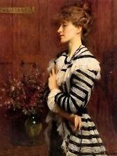 Oil painting arthur hacker - portrait of christabel cockerell lady frampton art