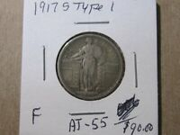 1917-S T1 STANDING LIBERTY SILVER QUARTER  - Fine Cond -  Lot# AT-55