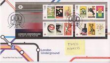 LONDON PMK GB ROYAL MAIL FDC 2013 LONDON UNDERGROUND MINIATURE SHEET