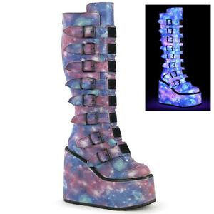 Demonia SWING-815 Purple-Blue Platform Knee High Boot w/ 8 Buckle Straps