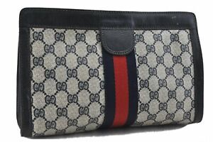 Authentic GUCCI Sherry Line Clutch Bag GG PVC Leather Navy Blue C8423