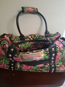 Betsey Johnson Rolling Suitcase Roses Leopard Print Travel Carry On Zipper