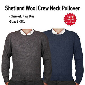 Shetland Wool Round Neck Jumper Pullover Knit chracoal navy