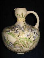 Original Hand Painted Pottery Pitcher Jug Blue Iris Raised Design 9in. Signed