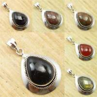 925 Silver Plated Jewelry ! Real BLACK ONYX & Other Gemstones HANDMADE Pendant