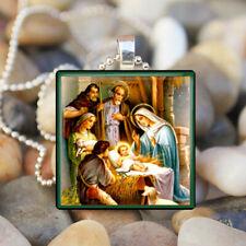 Nativity Scene Baby Jesus Manger Mary Joseph Religious Tile Pendant Necklace