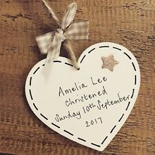 New Baby Gift Personalised Christening Plaque Boy/girl Heart Present Keepsake