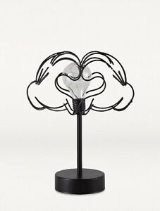 Disney Mickey Mouse Black Wire Hands Table Lamp Battery Operated Night Light