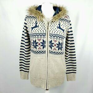 MANATRAY Womens Hooded Zip Cardigan 14 Beige Reindeer Snowflake Fur Trim Wool