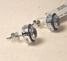 BEAUTIFUL STERLING SILVER STUD EARRINGS WITH BLACK AND WHITE DIAMONDS